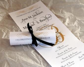 Double Sided Mini Scroll Wedding Programs