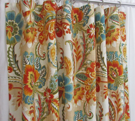 Teal Orange Curtains Bright Floral Curtains Traditional