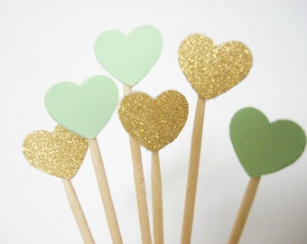 Set of 50Pcs - Gold Glitter and Mint Green ' Mini Heart' Cupcake Toppers, Food Picks, Weddings, Bridal/Baby Shower Party Picks