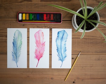Hand Painted Original - Watercolor Feathers - Watercolor Print - Set of Three 4x8 Prints