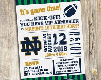 Notre Dame Football Birthday Party / Baby Shower Invitation / DIY Printable Download