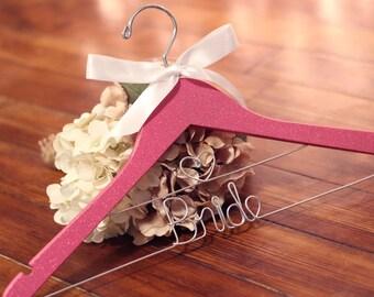 Glitter Pink Bridal Hanger, Gold Silver Hangers, Personalized Bride Hanger, Bride Hanger, Mrs Hanger, Bridal Hanger
