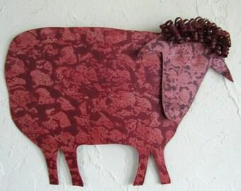 Metal Wall Sculpture Sheep Decor - Folk Art - Farm Animals Recycled Metal Barnyard Art Indoor Outdoor Animal Wall Art 10 x 13