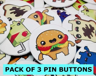 Pin Buttons / Pack Of 3 Pin Buttons / Food Pins / Cute Pin Buttons / Chapas
