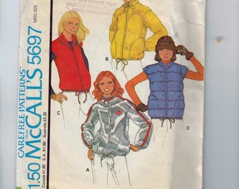1970s Vintage Sewing Pattern McCalls 5697 Misses Unlined Jacket Vest Hood Windbreaker Medium Size 14 16 Bust 36 38 1977 70s
