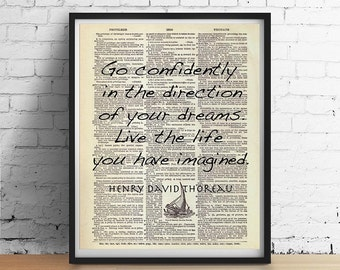THOREAU Walden Dictionary Art Print Poster, Literary Inspirational Quote Live the Life You Have Imagined, Motivational Sailing Dreams Dorm