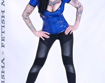 CL design latex top with short sleeves T-shirt rubber rubber