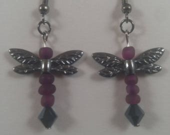 Purple dragonflies earrings