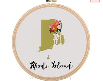 Rhode Island Cross Stitch Pattern Modern Cross Stitch Pattern Counted Cross Stitch Pattern Rhode Island Art Rhode Island State Art