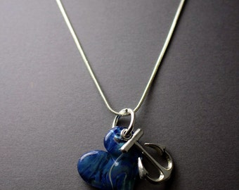 Anchor For My Soul- Blue Blown Glass Heart With Anchor Charm and Silver Necklace