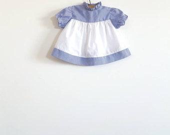 Vintage Blue and White Newborn Baby Dress