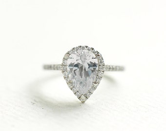 Cubic Zirconia Engagement Ring - Pear Cut Sterling Silver Ring - Anniversary Ring - Affordable Engagement Ring - Tear Drop Ring - A23