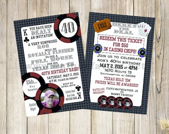Personalized Poker Adult theme invitation with photo. Double sided, 2 sizes available. FILE DOWNLOAD. DIGITAL only