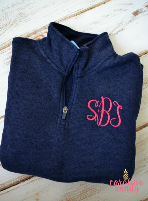 items similar to women u0026 39 s monogrammed navy heathered pullover- monogram fleece pullover