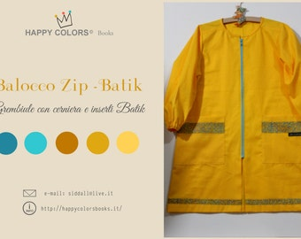"Apron ""Balocco ZIP-Batik"" cotton-kindergarten painting and other activities-Waldorf-Montessori-for children and adults"