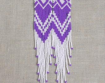 Very Long Earrings. White and Lilac Earrings. Native American Beaded Earrings Inspired. Shoulder Duster Earrings. Beadwork, LLK007
