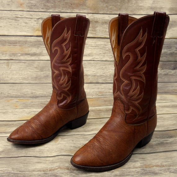 Leather Nocona Extra 9 Boots Cowboy Wide Western USA Brown Country Size EE Mens qwSt1