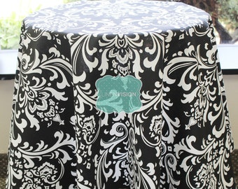 Tablecloth - Premier Prints - OZBORNE Damask  - Black - Choose Your Size - Table Linen Wedding Home Decor Dining Kitchen