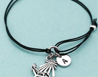 Suntanning cord bracelet, suntanning charm bracelet, adjustable bracelet, charm bracelet, personalized bracelet, initial, monogram