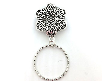 Magnetic Eyeglass Holder -Silver Filigree Cabochon - EH02