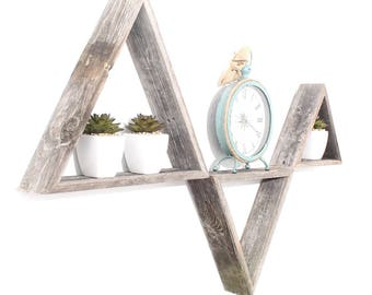 BarnwoodUSA | Rustic Triangles Set of 3 | 100% Reclaimed Wood | Weathered Gray