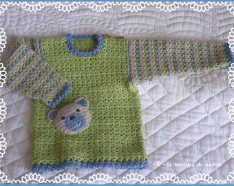 Baby: crocheted sweater fantasy with Teddy bear, boy 18 months