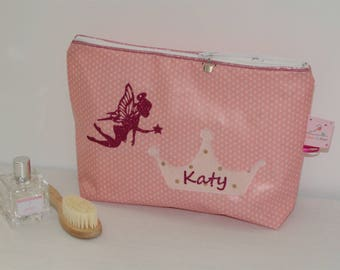 Toiletry bag cotton coated your choice, custom name and fairy