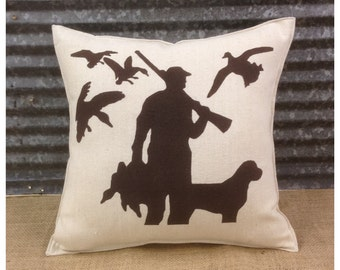 Decorative Pillow with a hunter with his dog and ducks.  COMPLETE pillow. Hunting decor Duck pillow Lodge decor Cabin decor