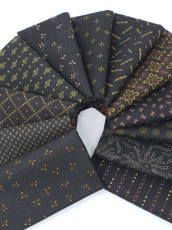 Ebony and Onyx Basics by Kim Diehl, 12 Handcut Fat Quarters Black Prints With Stars, Stripes, Medallions, Dots, Flowers, Traditional Vines