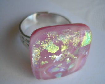 Pink and Gold Ring, Adjustable Band, Dichroic Fused Glass Ring, Square Ring Women's, Statement Ring, Pink Jewelry, One Size Ring, Home Made