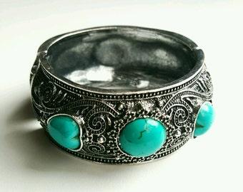 afghan cuff, bohemian cuff, cuff bracelrt, howlite cuff bracelet, turquoise bracelet