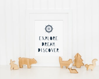 Nautical Nursery Art Print, Navy Nursery Art - Explore Dream Discover Art Quote, Kids Wall Art - Baby Boy Nursery Art - Instant Download