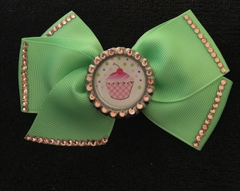 Beautiful Mint Green And Pink Cupcake Hair Bow
