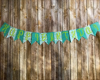 Happy Birthday Banner- Tropical Green and Teal Hibiscus Floral
