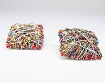 Red square earrings studs, ear pin, post earrings handmade, wire geometric earrings, modern minimalist art jewelry, Summer gift for women