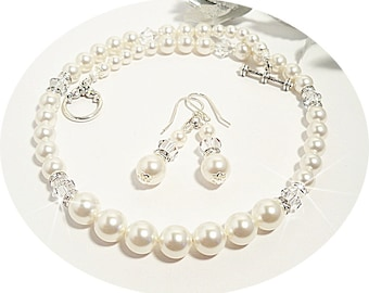 Bridal Jewelry, Ivory Pearl Necklace and Earrings, Bridal Accessories, Wedding, Bride, Necklace, Earrings, Pearl Jewelry, Bridesmaid Jewelry