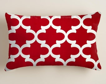 Red  PILLOW,  12x16 or 12x18 inch.  Pillow.Lumbar  Pillow Cover.  Decorative Pillows. Lodge Style   Pillow.Cushion.Blue