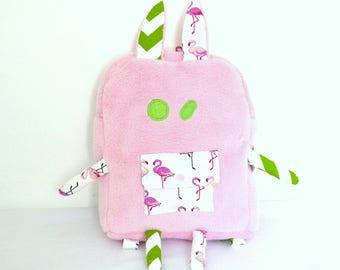 Bunny backpack pink fluffy, kindergarten bag