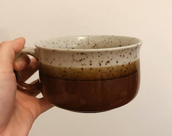 1970s stoneware coffee mug | vintage mug | brown & beige