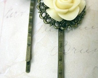 Ivory rose antique bronze bobby pins set of two