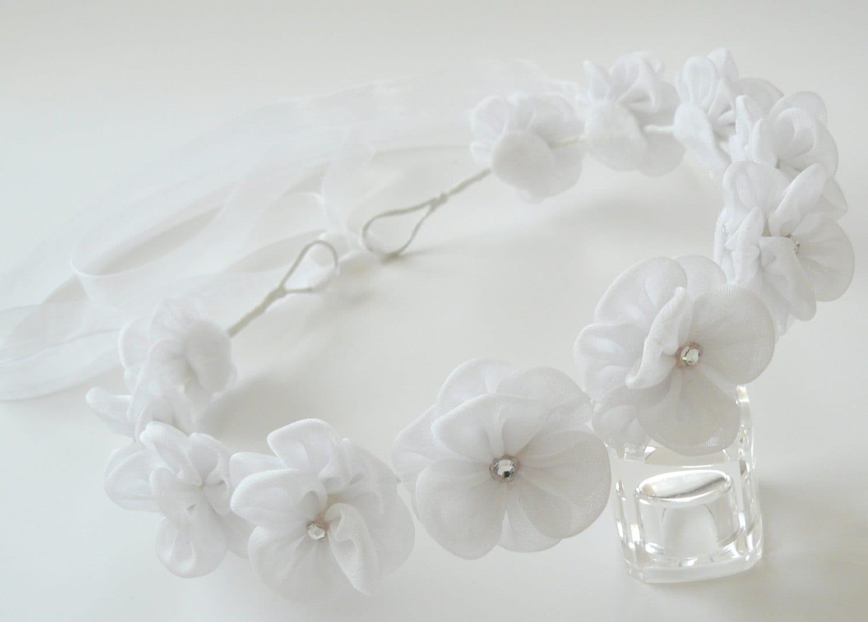 White Kanzashi Fabric Flower Wreath White Bridal Hair