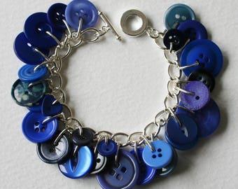 Button Bracelet Bright Blue Mix