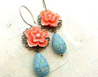 Orange sakura flower with blue teardrop bead dangle earrings-Vintage style floral earrings-Vintage style dangle flower earrings gift for her