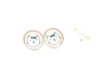 Sterling silver small 8mm cute cat kitty kitten cat lover gift ear studs earrings