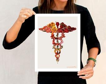 "Nurse gift, Flower Caduceus - 11"" x 14"", Medical Art Decor, Nurse graduation gift, Medical print, Nurse office, Doctors waiting room decor"