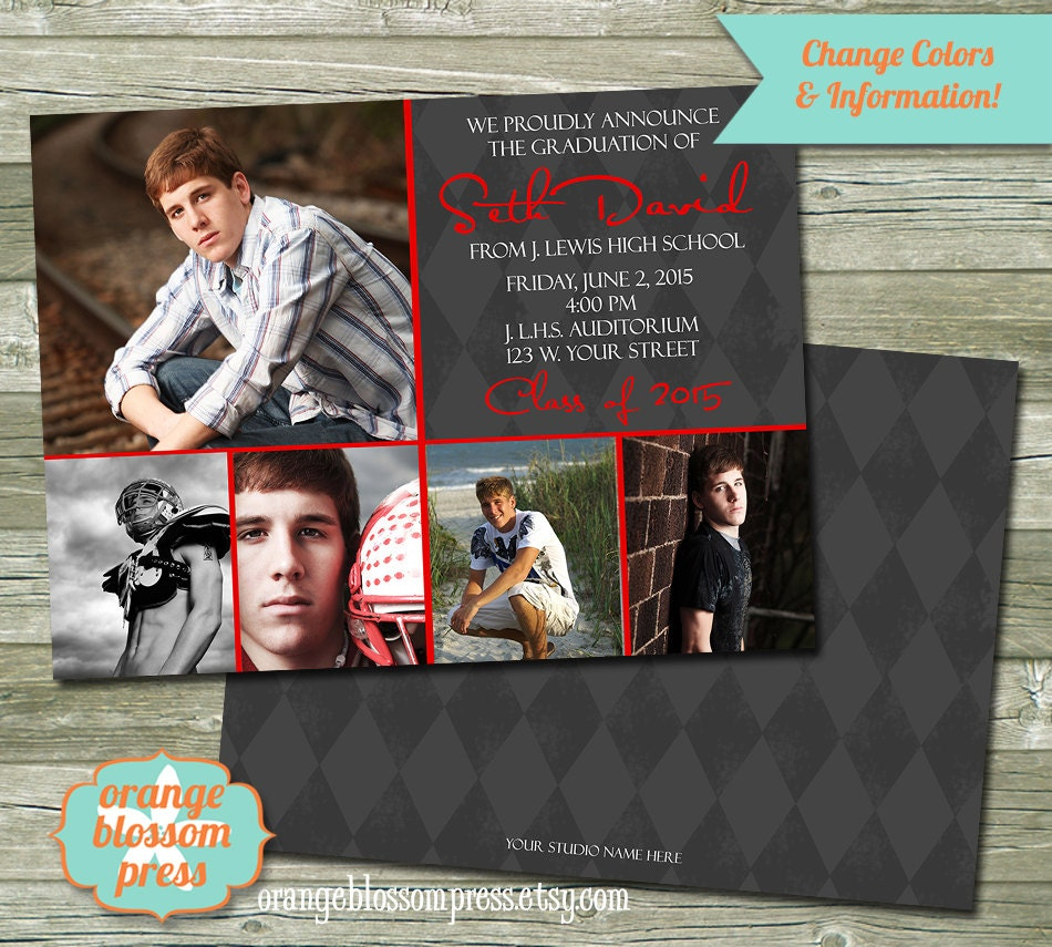 Photo Graduation Announcement Invitation Photoshop Template