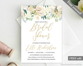 Greenery and Gold Bridal Shower Invitation Template. Printable Floral Bridal Shower Invitation. Modern Green Foliage Ivory Flower PDF BS92