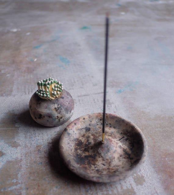 Pit Fired Incense Burner + Match Striker Duo