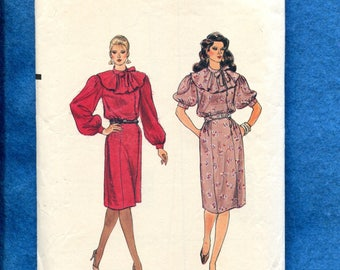 1980s Vogue 8487 Flounce Collar Dress with Puff Sleeves Size 6..8..10
