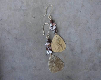 Gold Mother of Pearl Brass Earrings Hammered Earrings Long SydneyAustinDesigns